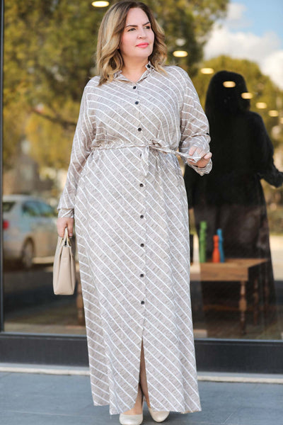 Women's Oversize Button Patterned Grey Long Dress