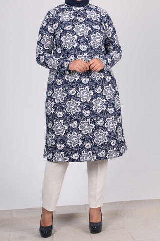 Women's Oversize White Floral Pattern Navy Blue Knit Crepe Tunic