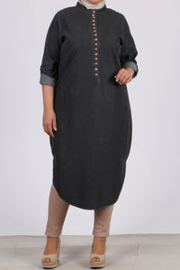 Women's Oversize Button Anthracite Denim Tunic