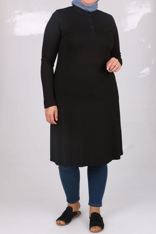 Women's Oversize Button Collar Black Combed Cotton Tunic