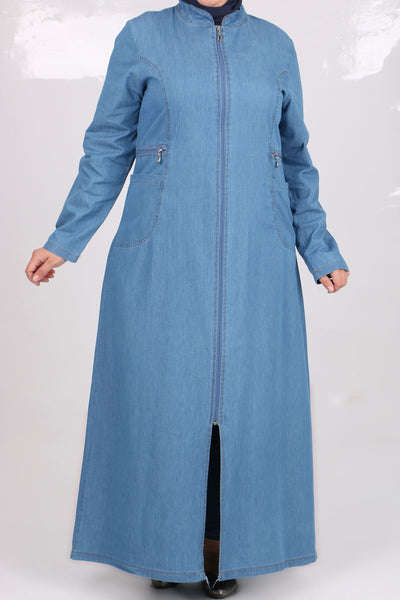 Women's Oversize Zipped Blue Denim Abaya