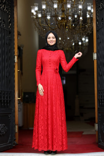 Women's Floral Waist Red Modest Evening Dress
