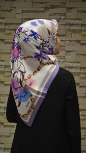 Women's Patterned Satin Silk Scarf
