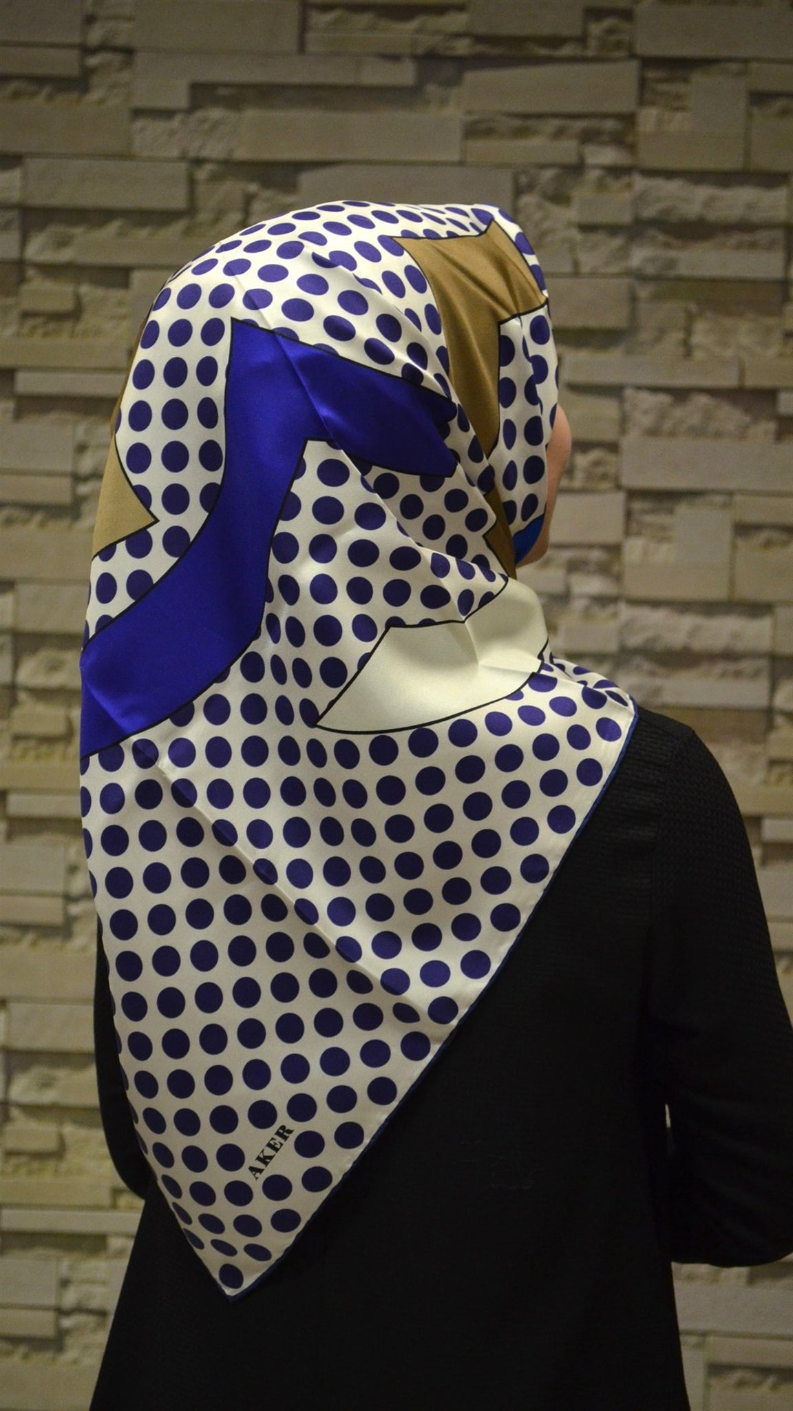 Women's Patterned Twill Silk Scarf