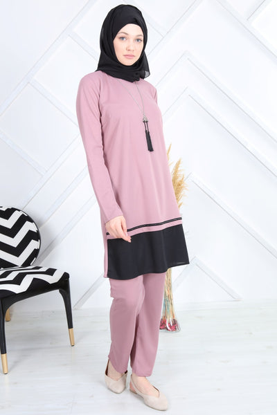 Women's Necklace Accessory Powder Rose Modest Tunic & Pants Set
