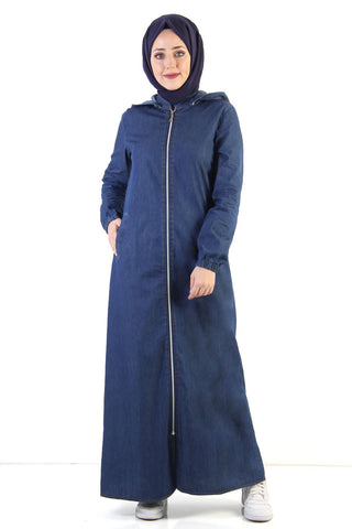 Women's Button Back Dark Blue Modest Denim Abaya