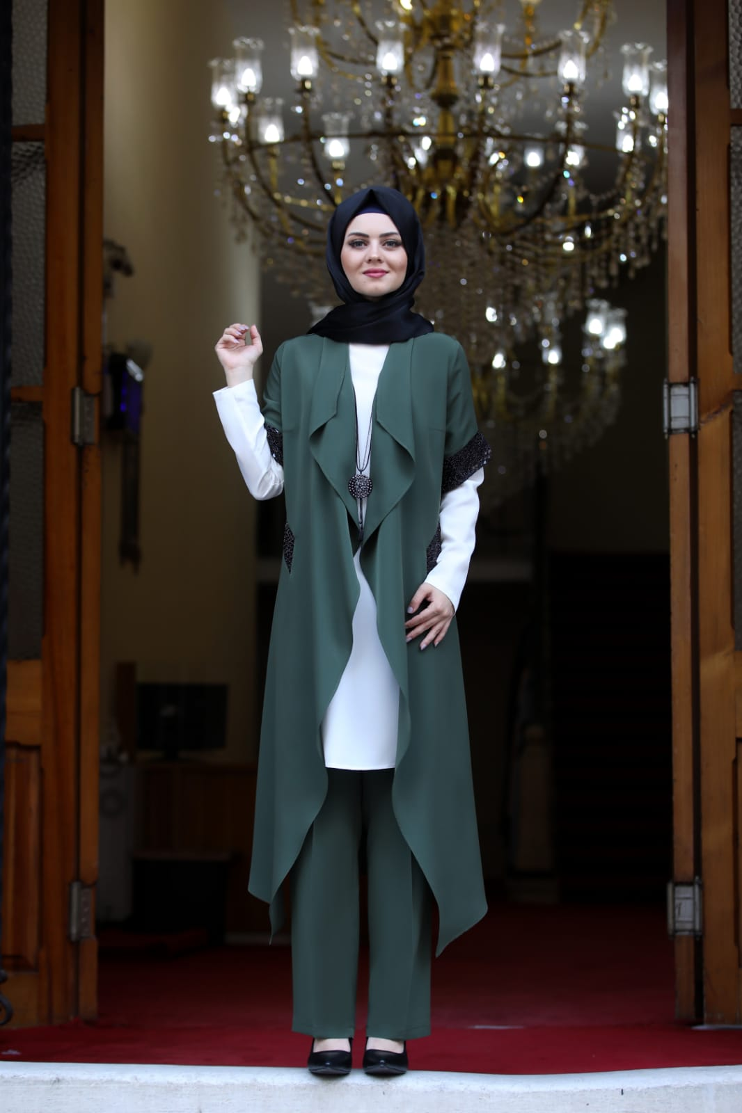 Women's Khaki Thin Jacket, Tunic & Pants Set