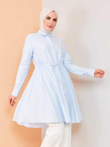 Women's Lace-up Waist Baby Blue Modest Tunic