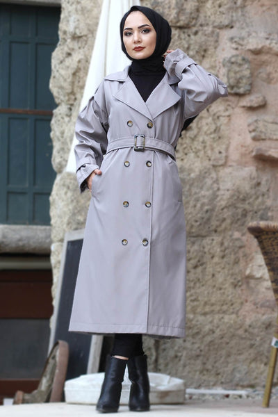 Women's Balloon Sleeve Grey Modest Trenchcoat