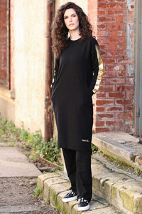 Women's Pocket Black Tunic Pants Set
