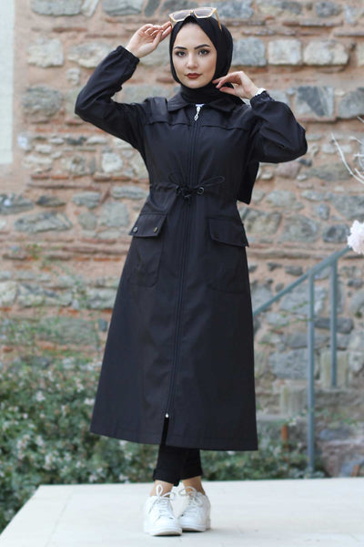 Women's Lace-up Waist Black Trenchcoat