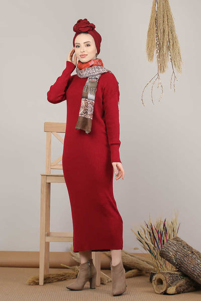 Women's Turtleneck Claret Red Modest Tricot Midi Dress