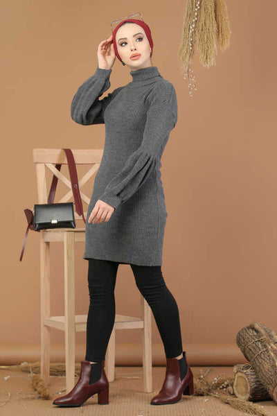 Women's Turtleneck Anthracite Modest Tricot Tunic