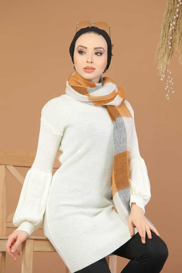 Women's Turtleneck White Modest Tricot Tunic