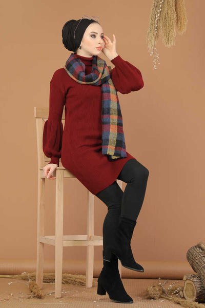 Women's Turtleneck Claret Red Modest Tricot Tunic