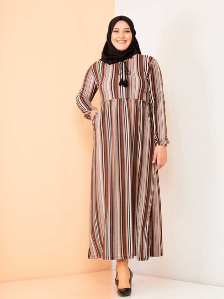 Women's Oversize Striped Pocket Mink Long Dress