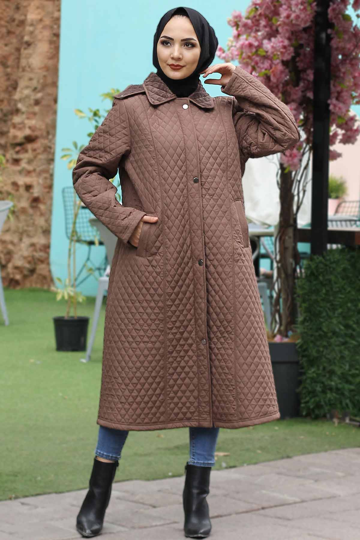 Women's Oversize Camel Modest Long Quilted Coat