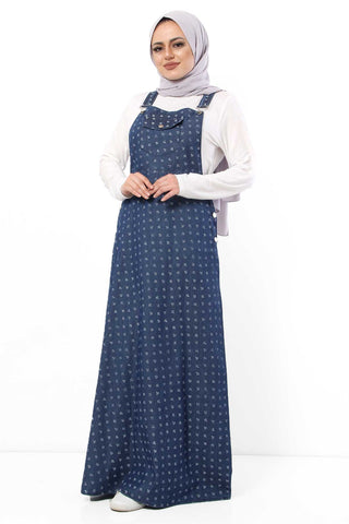 Women's Strappy Anchor Pattern Dark Blue Denim Long Dress