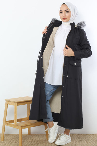 Women's Shirred Waist Pocket Black Coat