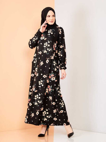 Women's Floral Pattern Black Modest Long Dress