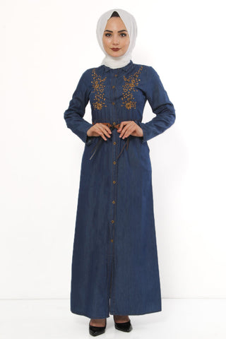 Women's Floral Embroidered Dark Blue Denim Long Dress