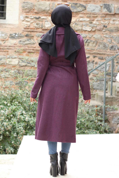 Women's Double Button Purple Cachet Coat