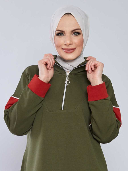 Women's Zip Collar Khaki Modest Tracksuit