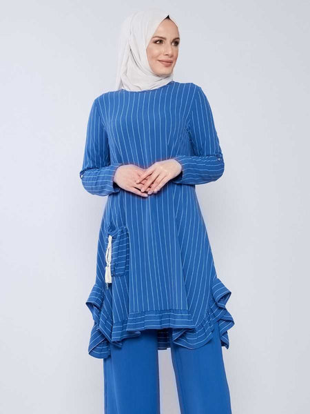 Women's Striped Pocket Blue Modest Tunic & Pants Set