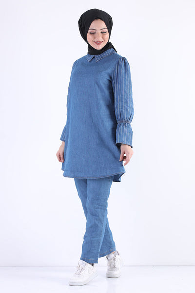 Women's Striped Light Blue Denim Modest Tunic Pants Set