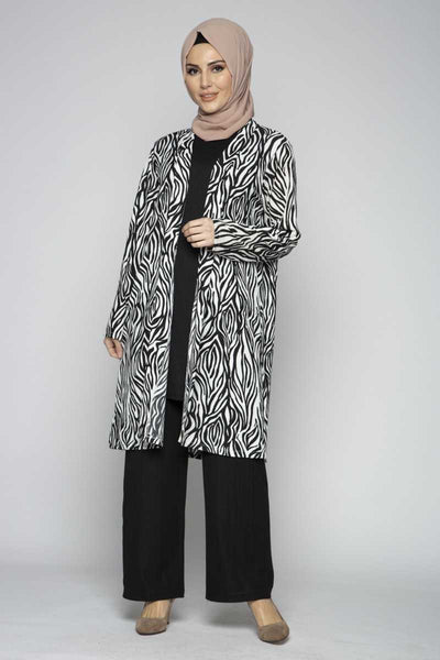 Women's Zebra Pattern Modest Outfit Set - 3 Pieces