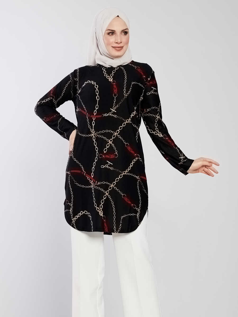 Women's Chain Pattern Black Modest Tunic