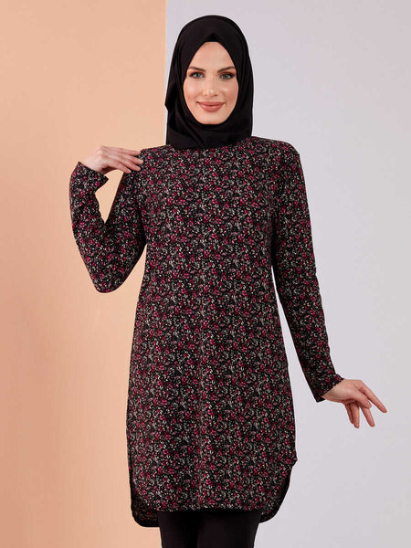 Women's Fuchsia Floral Pattern Black Modest Tunic