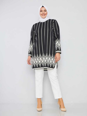 Women's Oversize Patterned Black - Ecru Modest Tunic