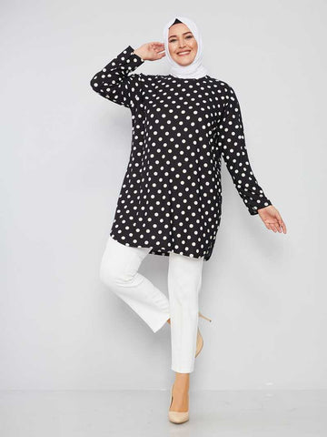 Women's Oversize Polka-Dot Black Modest Tunic
