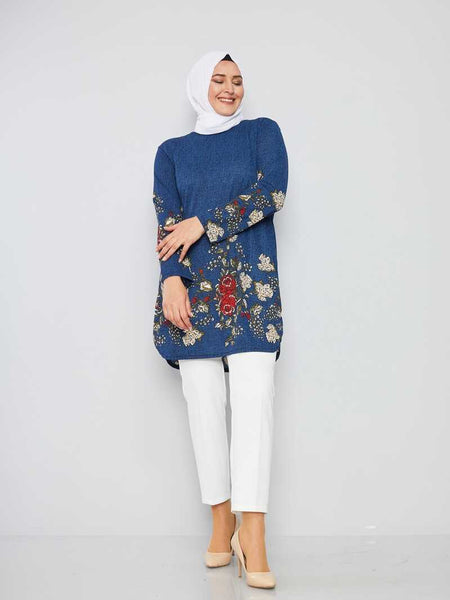 Women's Oversize Patterned Indigo Modest Tunic