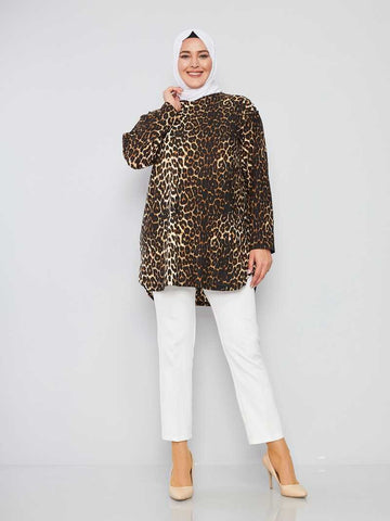 Women's Leopard Pattern Dark Mink Modest Tunic