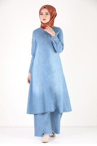 Women's Button Light Blue Denim Modest Tunic & Pants Set