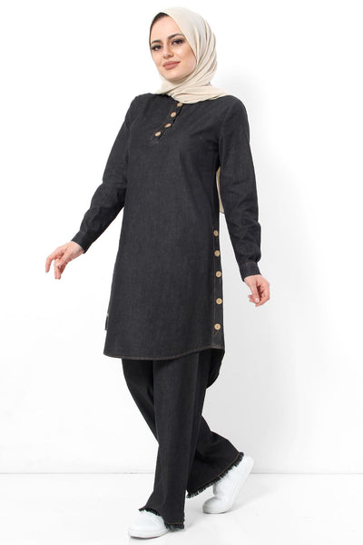 Women's Button Black Denim Tunic & Pants Set