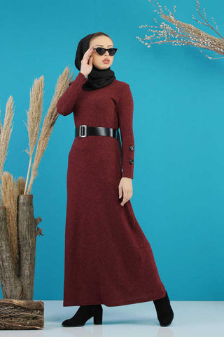 Women's Belted Claret Red Modest Long Dress