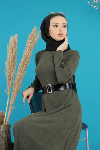 Women's Belted Khaki Modest Dress