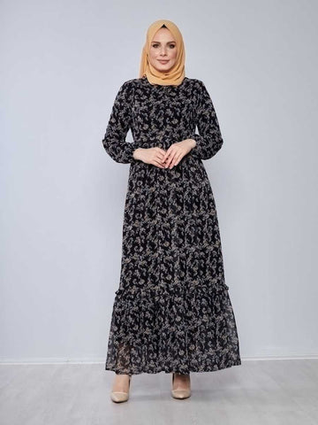 Women's Frill Hem Black Chiffon Modest Long Dress
