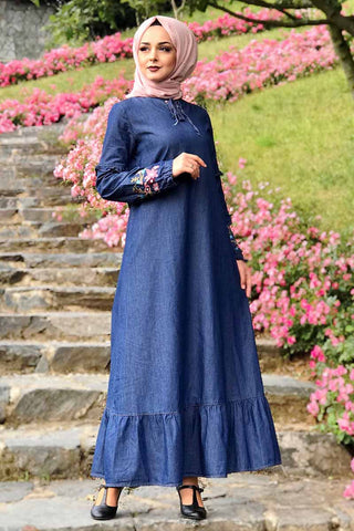 Women's Ruffle Hem Denim Long Dress