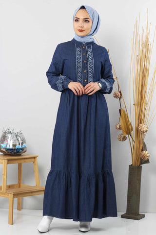 Women's Ruffle Hem Dark Blue Denim Long Dress