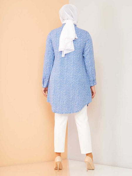 Women's Oversize Button Patterned Blue Modest Tunic