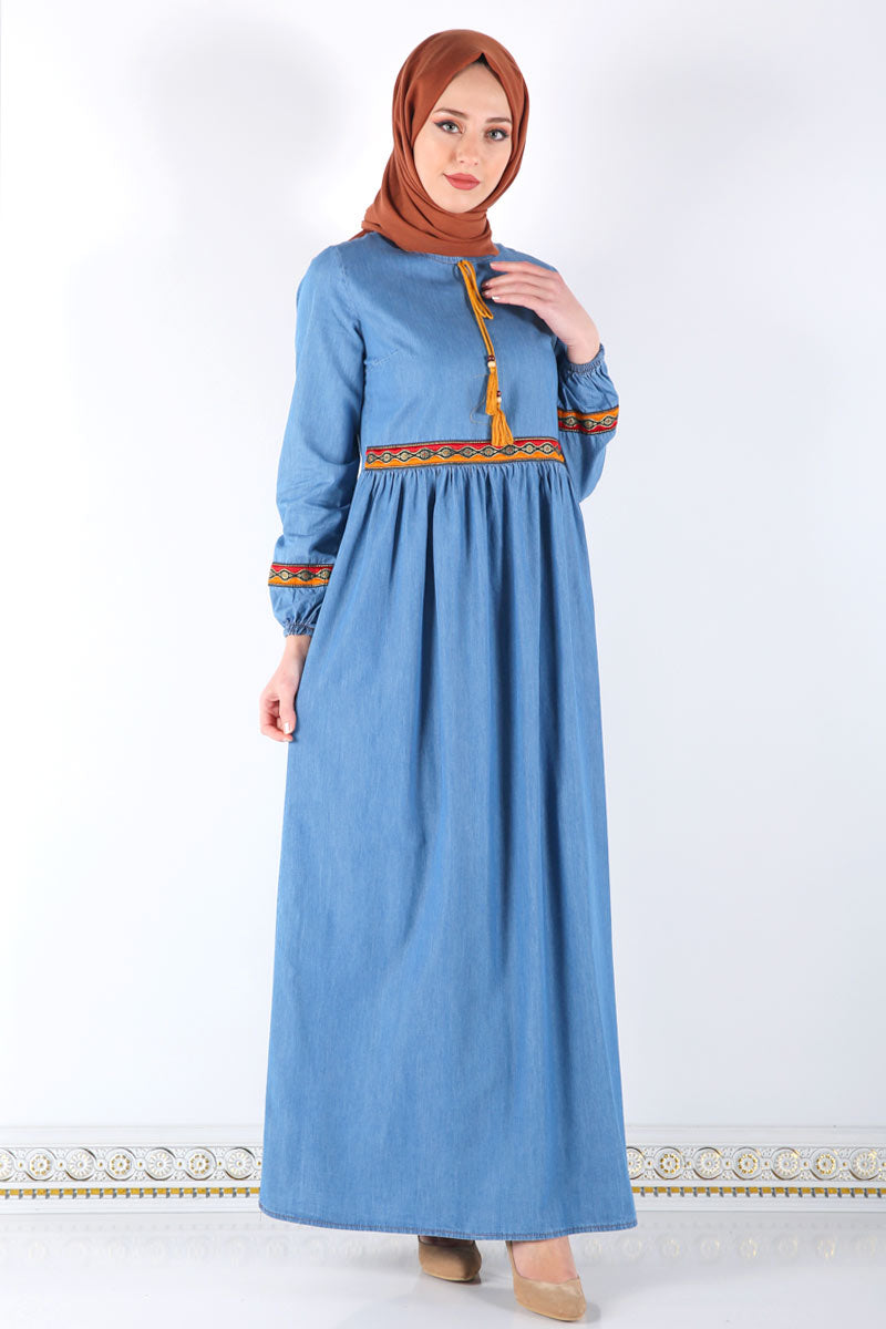 Women's Ethnic Pattern Light Blue Denim Long Dress