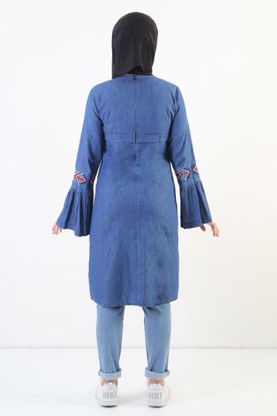 Women's Ethnic Pattern Dark Blue Denim Tunic