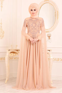 Women's Beaded Beige Evening Dress