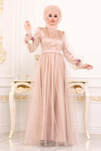 Women's Sleeve Flower Detail Gold Evening Dress