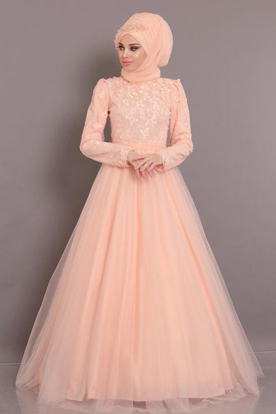 Women's Puffy Salmon Evening Dress