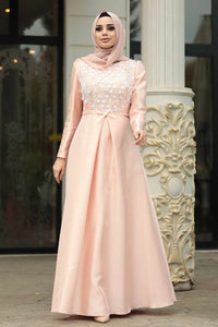 Women's Powder Rose Taffeta Evening Dress